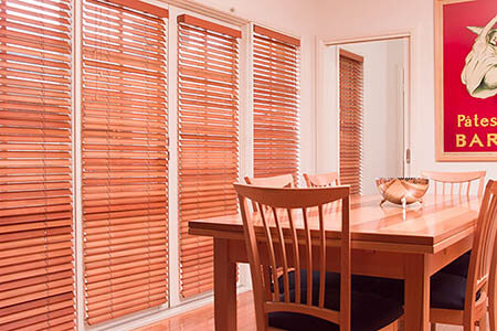 Timber Venetians in dining room
